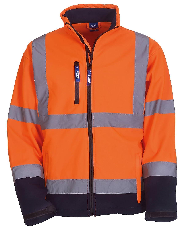 Yoko Hallo Vis Softshell Jacke - 5 Farben / SML - 4XL - Orange/ Navy - XL