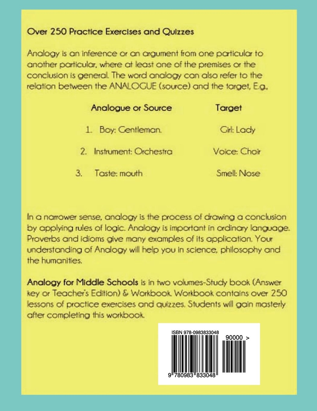Analogy For Middle Schools Workbook Amazon Okyere Bonna Mba