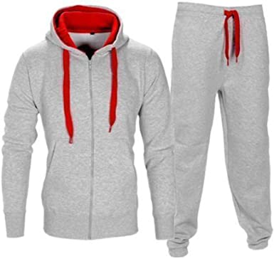 Mens Contrast Brushed Fleece Hoodie Gym Sports Hooded Joggers Full Tracksuit Set Zip Hoody Tops Bottom Trouser UK Size S-5XL
