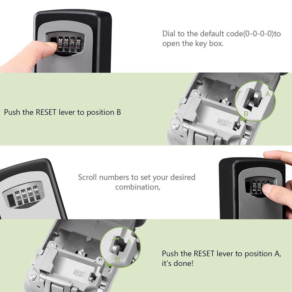 Key Lock Box, Exterior Outdoor Waterproof Hide Wall Mounted Key Safe Box - House use Key Storage Lock Box by YA MI (Image #4)