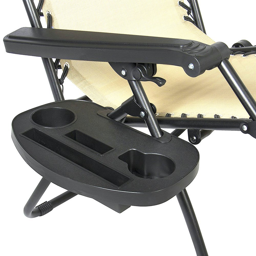 IRCtek Universal Oval Zero Gravity Chair Cup Holder with Mobile Device Slot and Snack Tray 1, Large