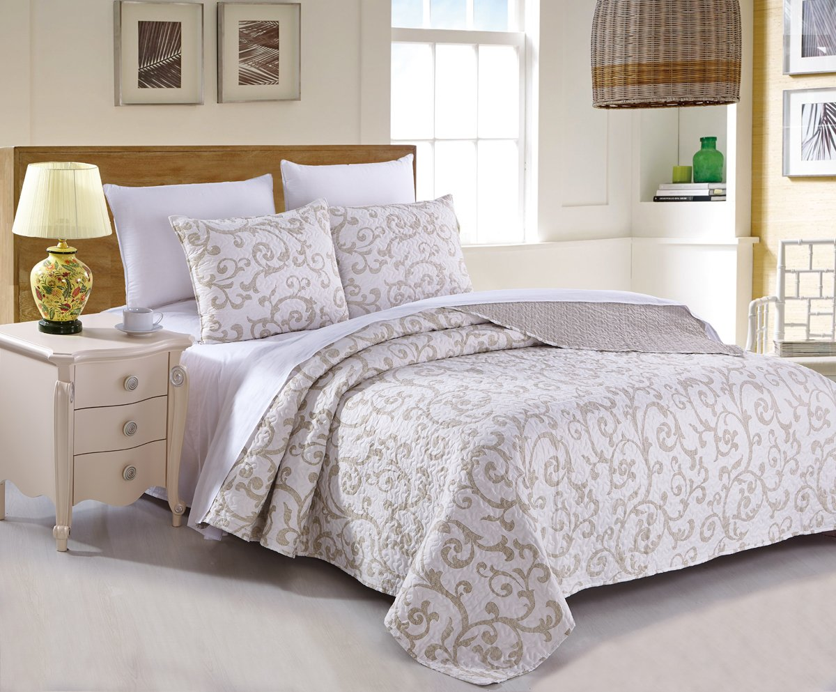 DaDa Bedding Elegant Classical Floral Luxe Couture Jacquard Reversible Quilted Coverlet Bedspread Set