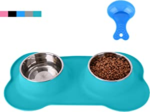 Hubulk Pet Dog Bowls 2 Stainless Steel Dog Bowl with No Spill Non-Skid Silicone Mat + Pet Food Scoop Water and Food Feeder Bowls for Feeding Small Medium Large Dogs Cats Puppies(L Green)