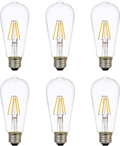 LEDVANCE Sylvania LED TruWave Natural Series ST19 Light Bulb, 60W Equivalent Efficient 7W, Medium Base Dimmable Clear 2700K Soft White, 6 Pack (40908)