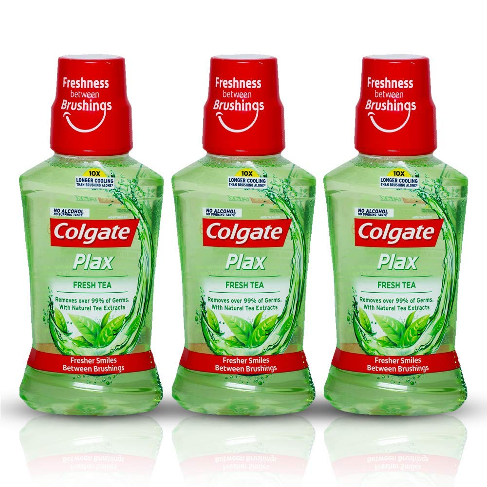 Colgate Plax Antibacterial Mouthwash, 10X longer cooling, 24/7 Fresh Breath, with Natural tea extracts - 3 x 250 ml (Fresh Tea)
