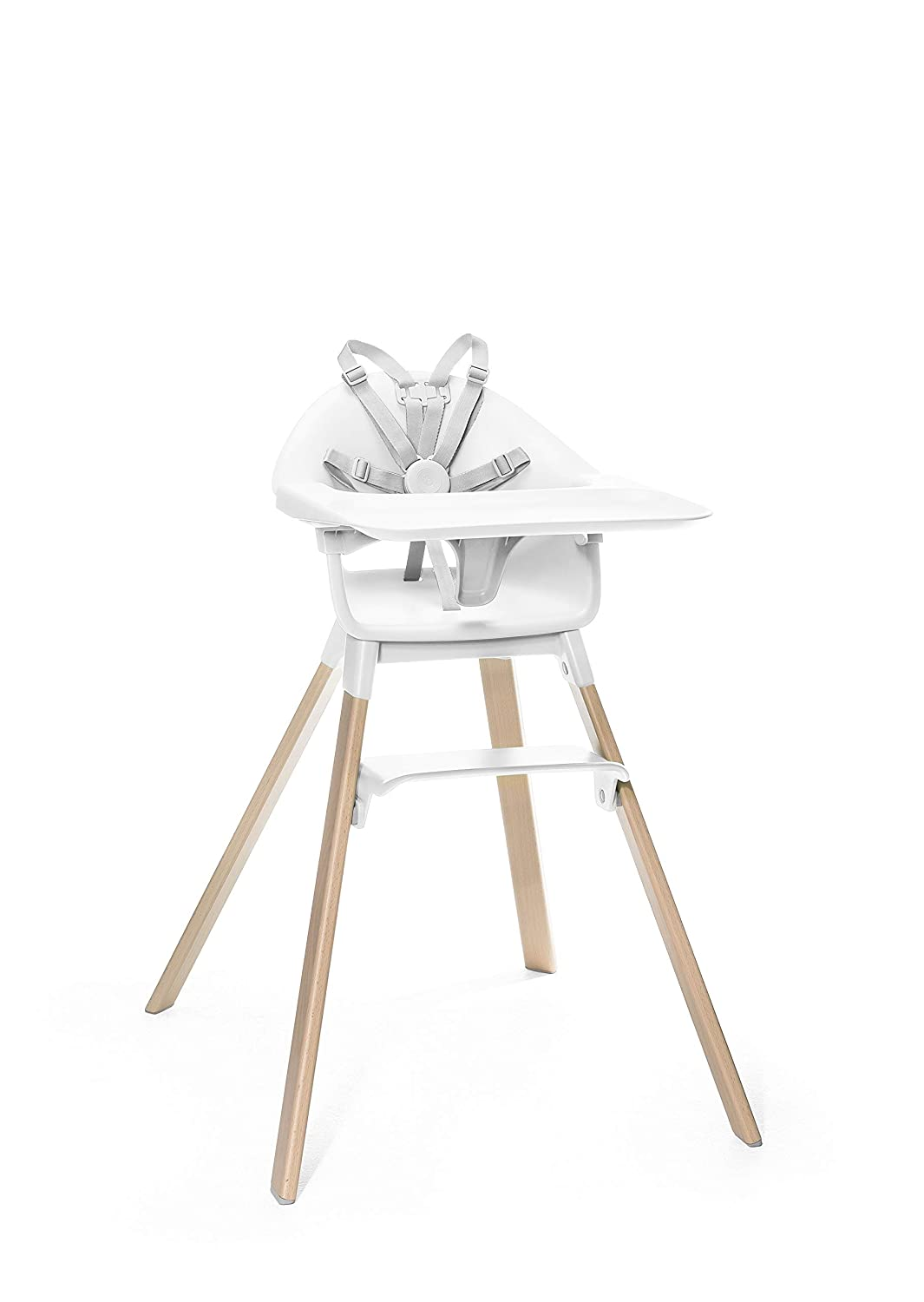 Stokke Clikk Easy to Clean White Baby High Chair with Natural Legs, All in One Box (Includes Tray and Harness)
