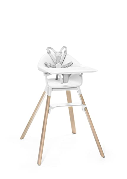 Stokke Clikk Easy to Clean Cloud Grey Baby High Chair with Natural Legs Includes Tray and Harness All in One Box