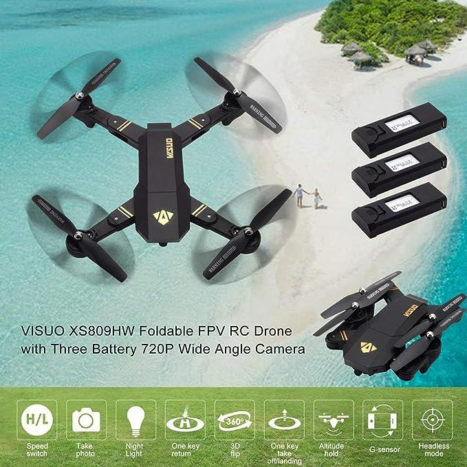 Heaviesk VISUO XS809HW 2.4G Plegable FPV Selfie Drone RC ...