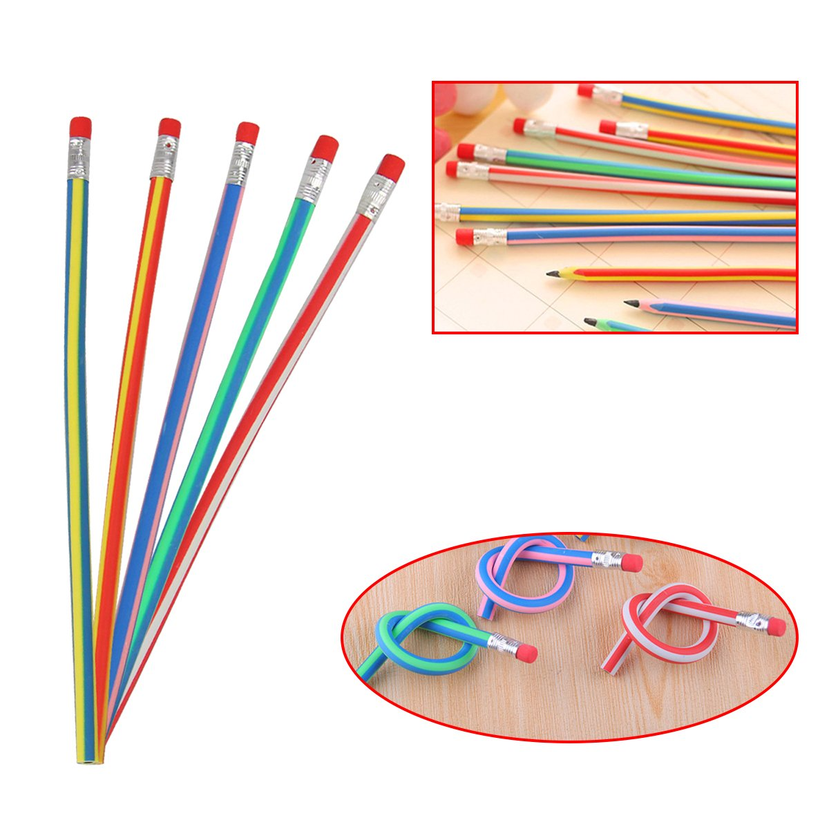 Flexible Pencils Pack of 40 Soft Pencil with Eraser for Kids Magic Colorful Bendy Pencil