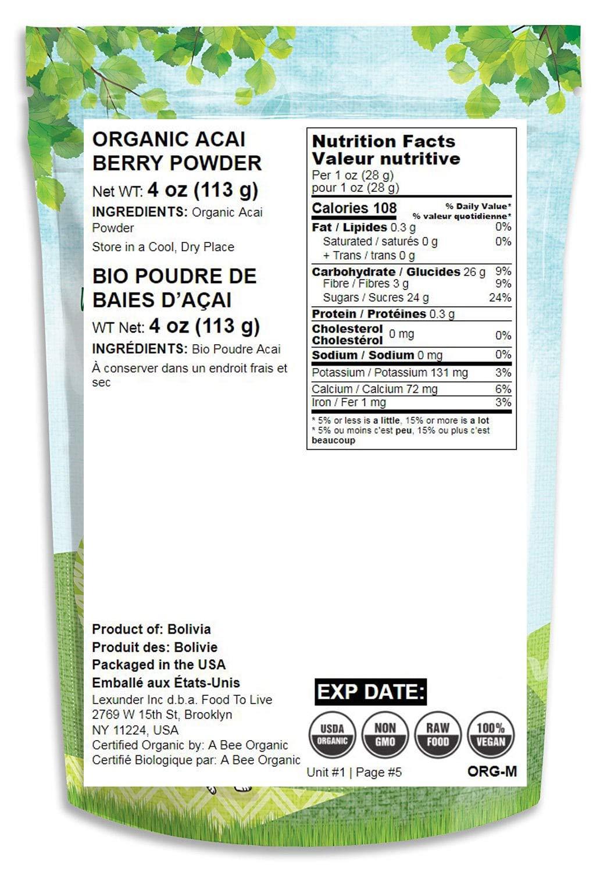 Organic Acai Berry Powder, 4 Ounces - Non-GMO, Raw, Vegan, Freeze-Dried, Unsweetened, Unsulfured, Bulk by Food to Live (Image #2)