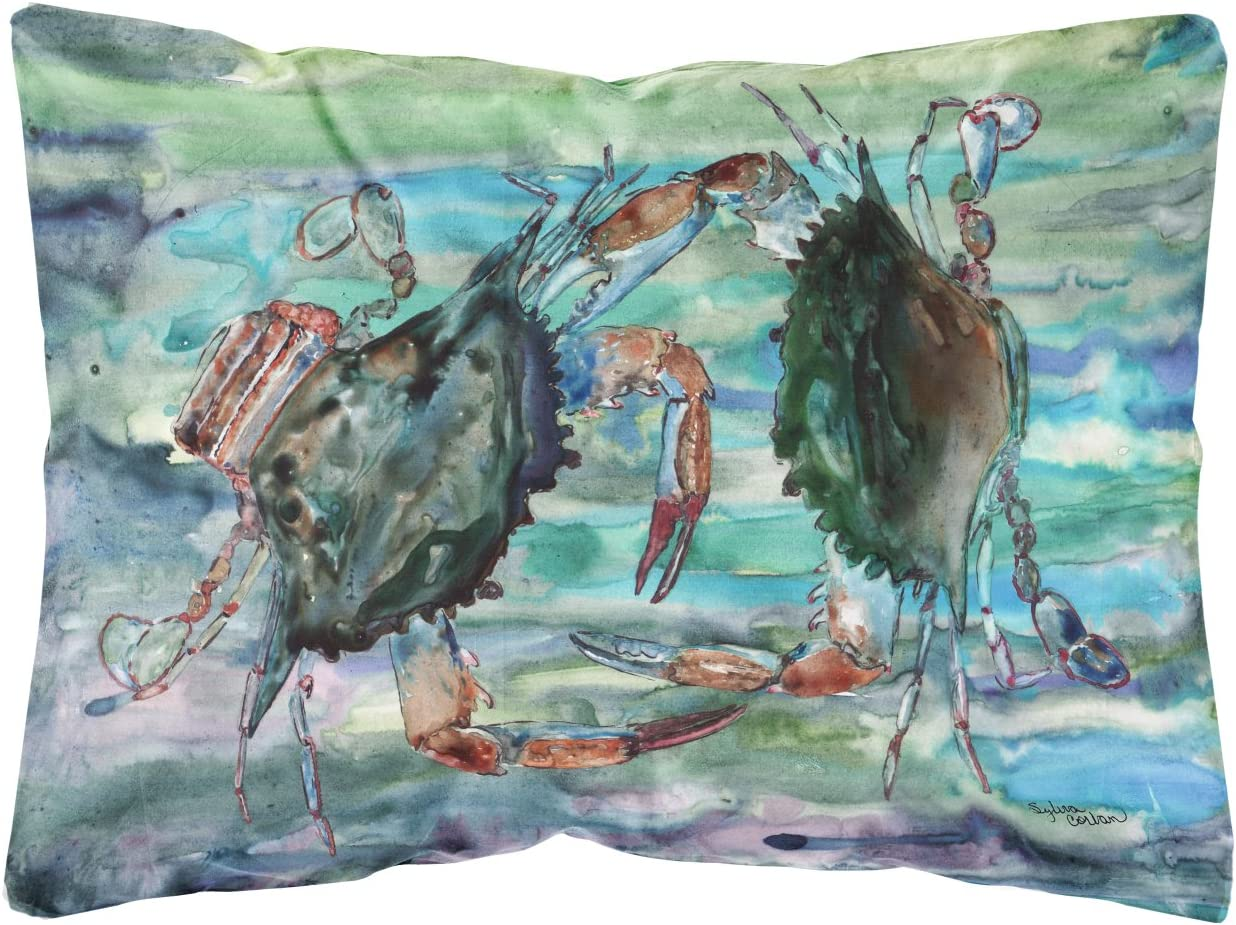 Caroline's Treasures 8954PW1216 Watery Teal and Purple Crabs Canvas Fabric Decorative Pillow, 12H x16W, Multicolor