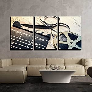 """wall26 - 3 Piece Canvas Wall Art - Film Camera Chalkboard and Roll on Wooden Table - Modern Home Decor Stretched and Framed Ready to Hang - 16""""x24""""x3 Panels"""