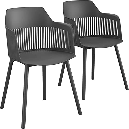 CosmoLiving by Cosmopolitan , Camelo Collection, Indoor Outdoor Resin Dining Slat Back, 2-Pack, Black Chair