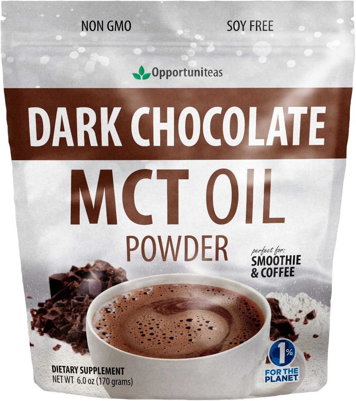 Dark Chocolate MCT Oil Powder – Sugar Free Hot Chocolate Mix – Perfect Low Carb Keto, Ketogenic Cocoa Supplement for Energy Mood Support – Mix in Coffee, Tea, Drinks, Smoothies, Recipes – 6 oz