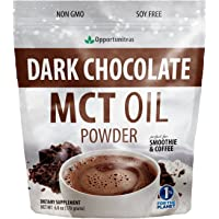 Dark Chocolate MCT Oil Powder - Sugar Free Hot Chocolate Mix - Perfect Low Carb Keto, Ketogenic Cocoa Supplement for…