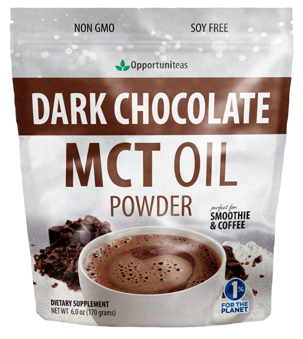 Dark Chocolate MCT Oil Powder - Sugar Free Hot Chocolate Mix - Perfect Low Carb Keto, Ketogenic Cocoa Supplement for Energy & Mood Support - Mix in Coffee, Tea, Drinks, Smoothies, Recipes - 6 oz by Opportuniteas