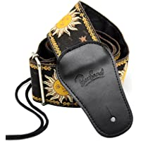 BestSounds Guitar Strap Genuine Leather Ends & Sun Jacquard Weave Style Strap For Bass, Electric & Acoustic Guitars