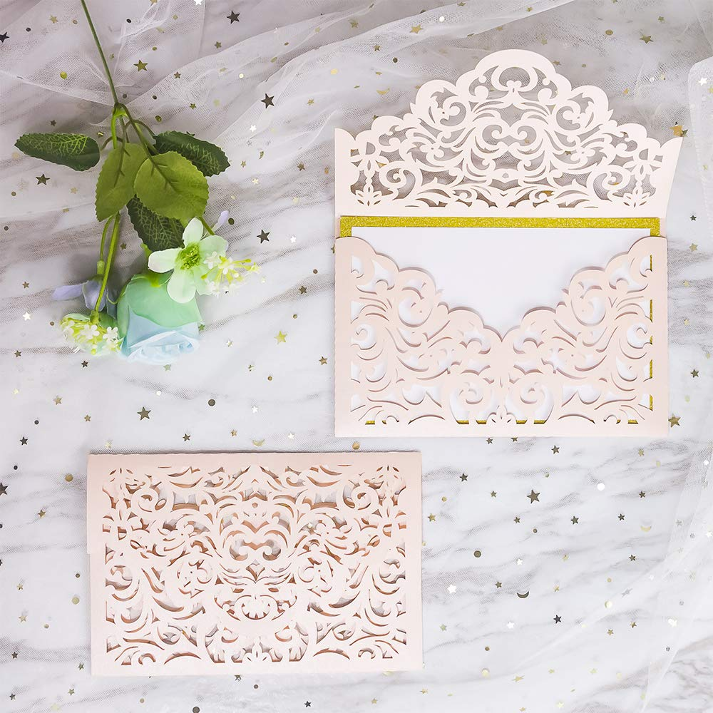 KAZIPA 25 PCs Laser Cut Wedding Invitations with envelopes, Blush Wedding Invitations Cards for Wedding Bridal Shower Engagement Graduation Invites