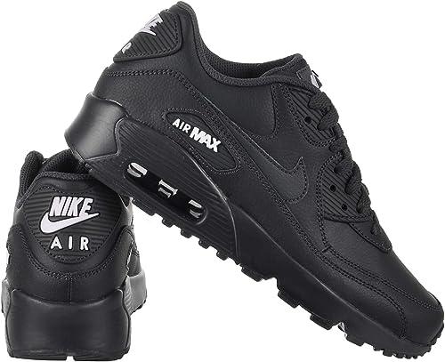 NIKE Air Max 90 Leather Herren Vollleder Sneaker Schwarz Schuhe, Größe:41