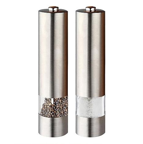 Pdr Electronic iluminada de sal y molinillo de pimienta de acero inoxidable con molinillo ajustable