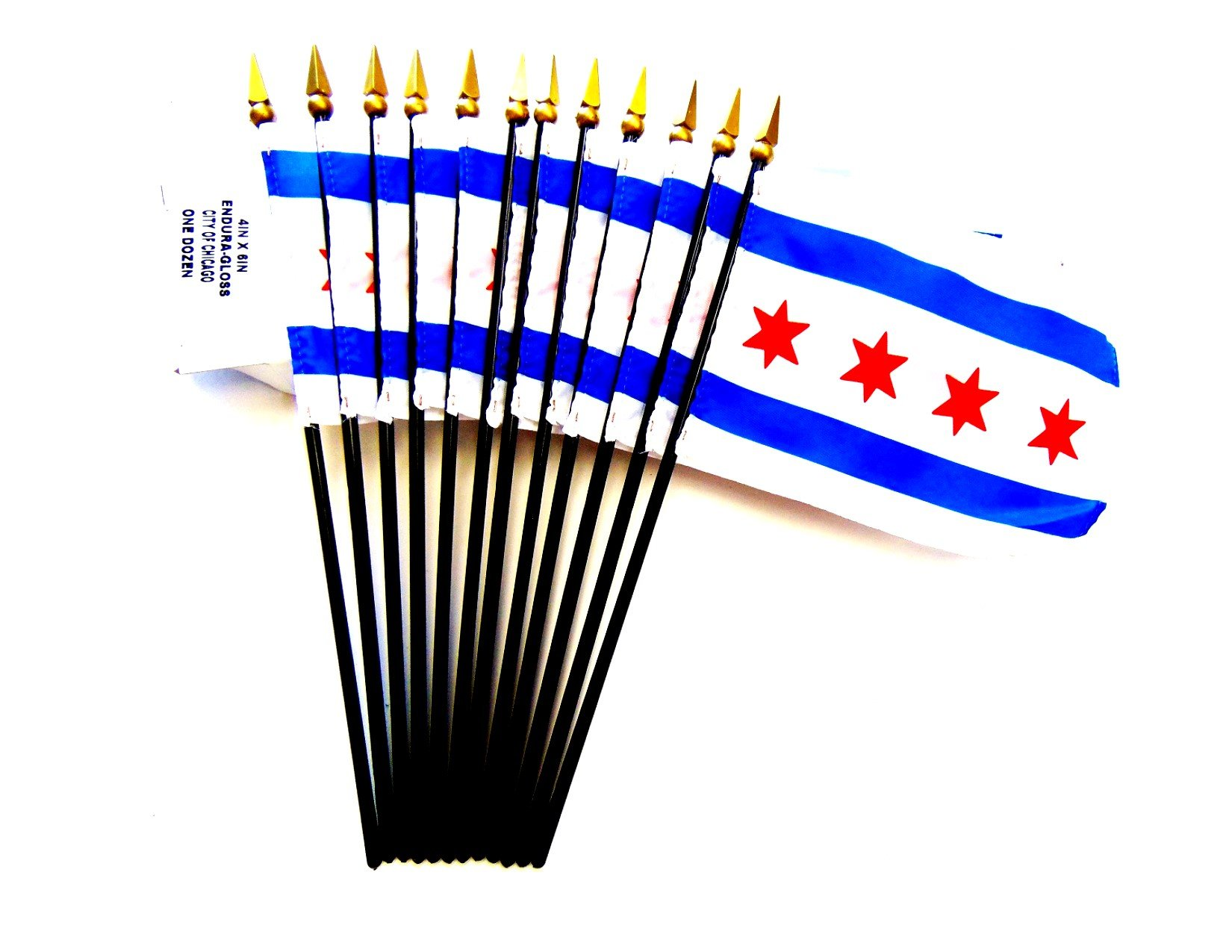 MADE IN USA!! Box of 12 Chicago 4''x6'' Miniature Desk & Table Flags; 12 American Made Small Mini City of Chicago Flags in a Custom Made Cardboard Box Specifically Made for These Flags