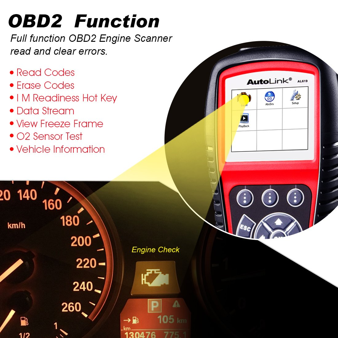 Autel Al619 Autolink Engineabssrs Auto Obd2 Scanner Honda Accord Obd Location Car Code Reader Automotive Diagnostic Tool