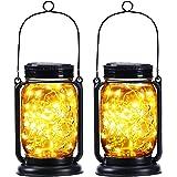 2 Pack Yeuago Hanging Outdoor Solar Lantern,Mason Jar Solar String Lights Waterproof with 30 Led String Lights Retro Design f