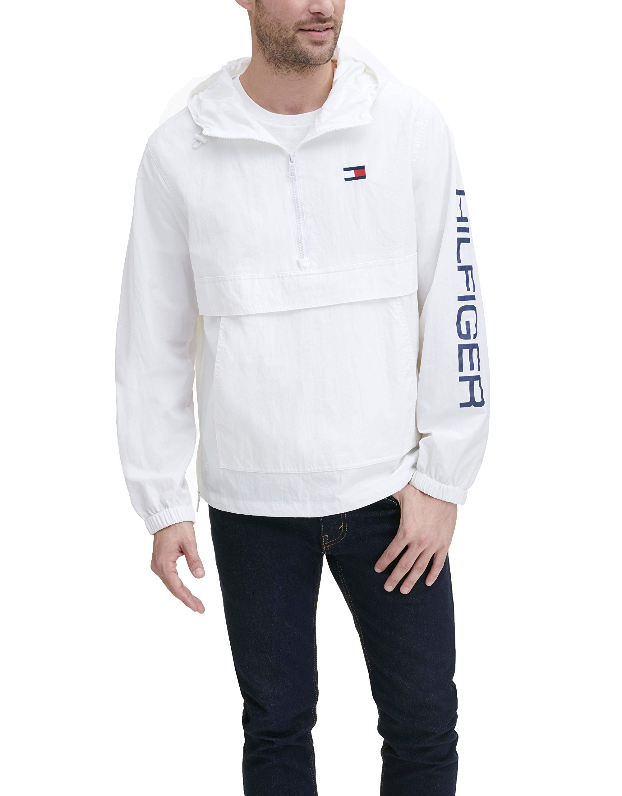 Tommy Hilfiger Men's Retro Lightweight Taslan Popover Jacket, white, Small by Tommy Hilfiger