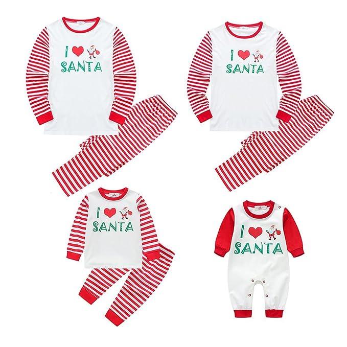 Los pijamas de navidad se adaptan a la familia La ropa de dormir Ropa de dormir Homewear 2 piezas Set I Love Santa: Amazon.es: Ropa y accesorios