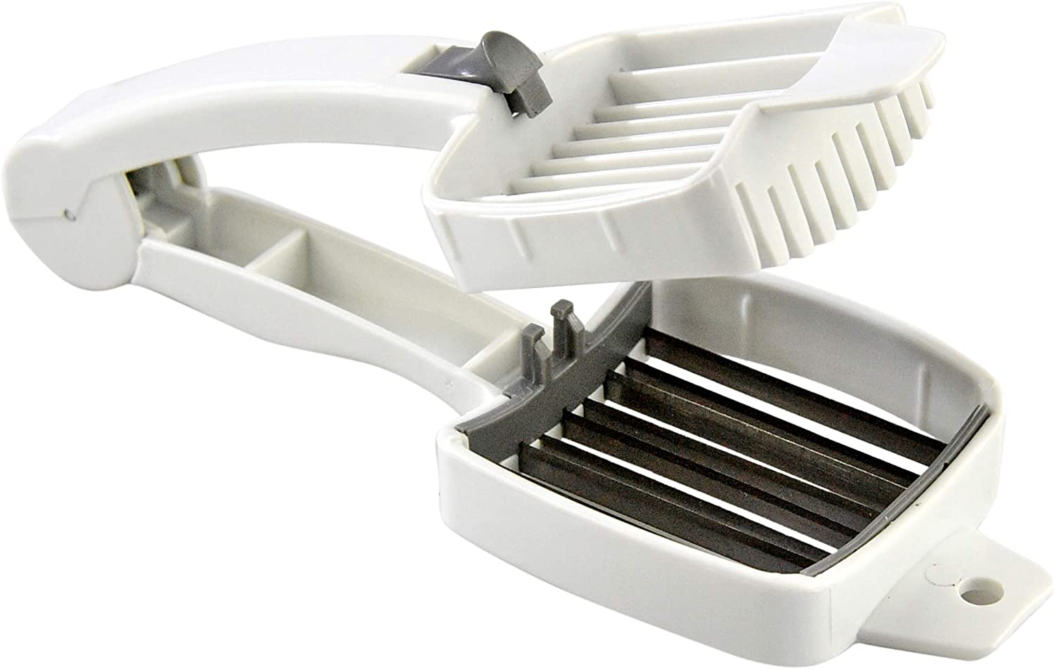 "HOME-X Handheld Multipurpose Food Slicer with Stainless-Steel Blades, Egg Slicer, Kitchen Tool, White, 7 3/4"" L x 3"" W x 1 7/8"" H"