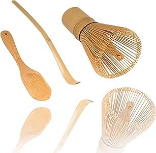 BambooMN Japanese Tea Set, Matcha Whisk (Chasen), Traditional Scoop (Chashaku), Deep Scoop, The Perfect Set to Prepare a Traditional Cup of Matcha - 1 Set
