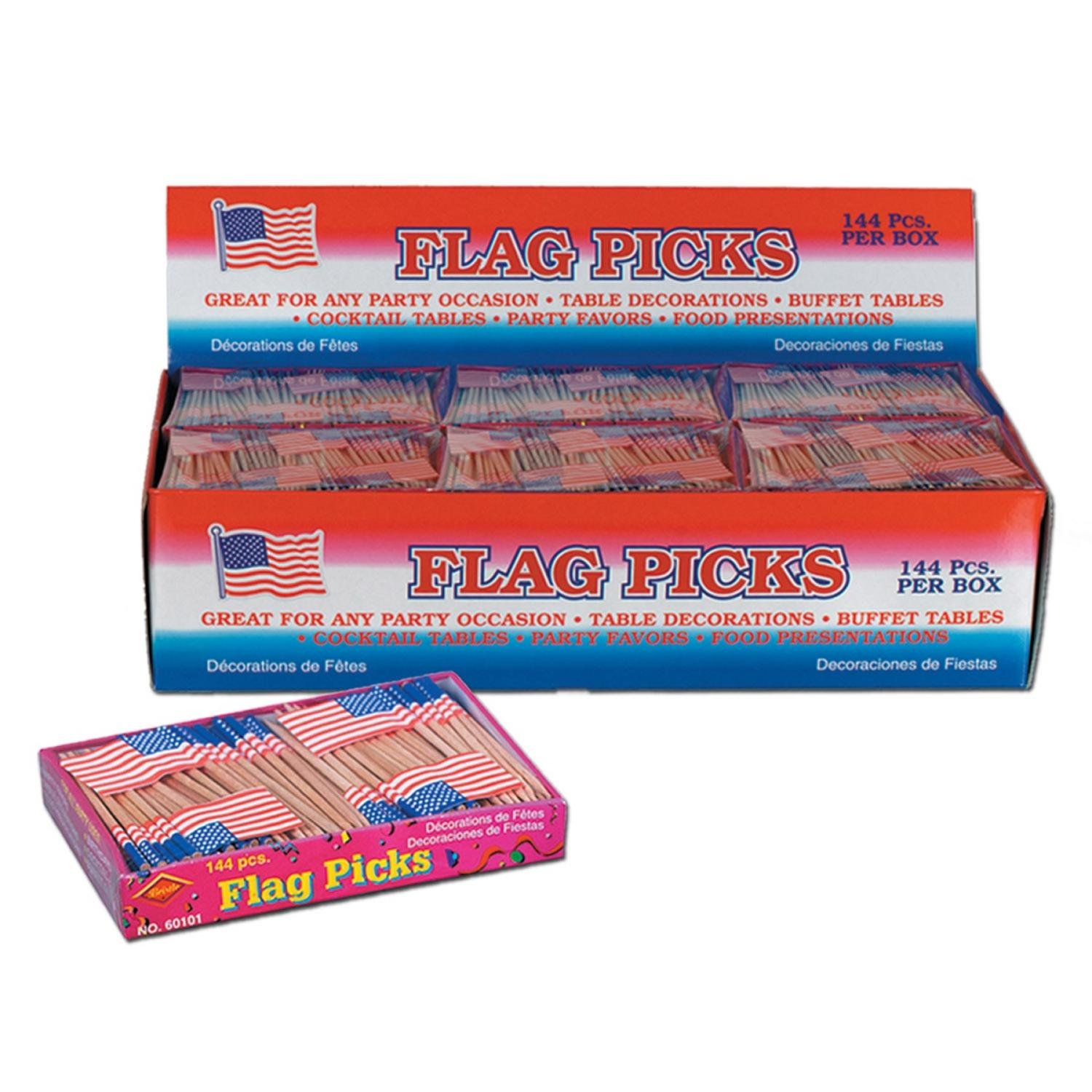 Club Pack of 3,456 Red, White, and Blue Patriotic U.S Flag Food, Drink or Decoration Party Picks 2.5''