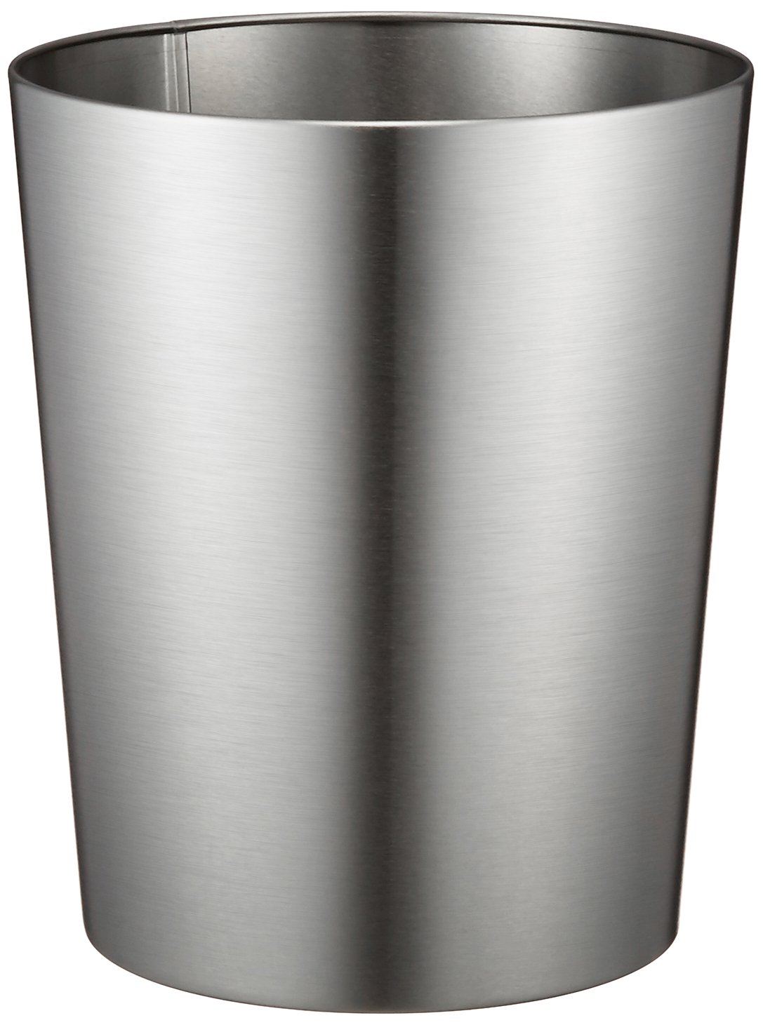 iDesign Patton Round Metal Trash Can, Waste Basket Garbage Can for Bathroom, Bedroom, Home Office, Dorm, College, 8'' x 8'' x 9.7'', Brushed Stainless Steel by iDesign