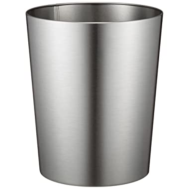 InterDesign Patton Round Metal Trash Can, Waste Basket Garbage Can for Bathroom, Bedroom, Home Office, Dorm, College, 8  x 8  x 9.7 , Brushed Stainless Steel