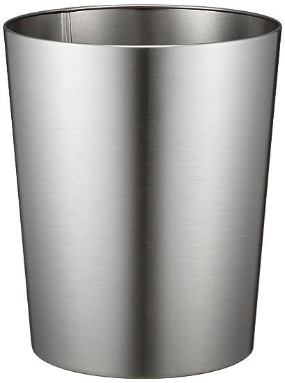 Beau InterDesign Patton Wastebasket Trash Can For Bathroom, Office, Kitchen    Brushed Stainless Steel