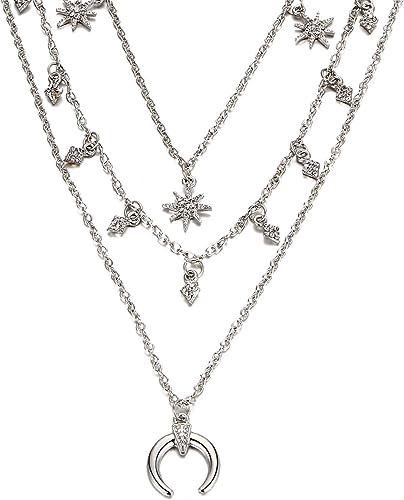 Damen Halskette Rund Stern Mond Anhänger Girl Chic Schmuck Ins Stil Geschenk Neu