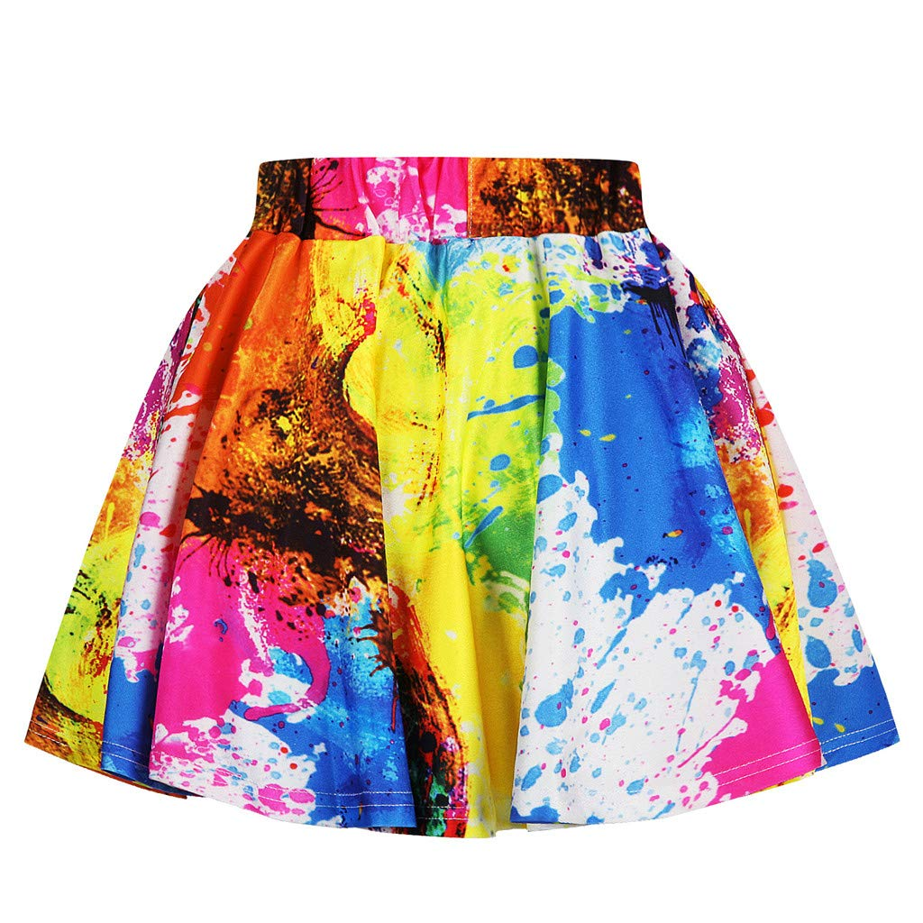NUWFOR Toddler Kids Girl Galaxy 3D Digital Printing Princess Casual Pleated Tutu Skirt(Multicolor,7-8 Years) by NUWFOR (Image #3)