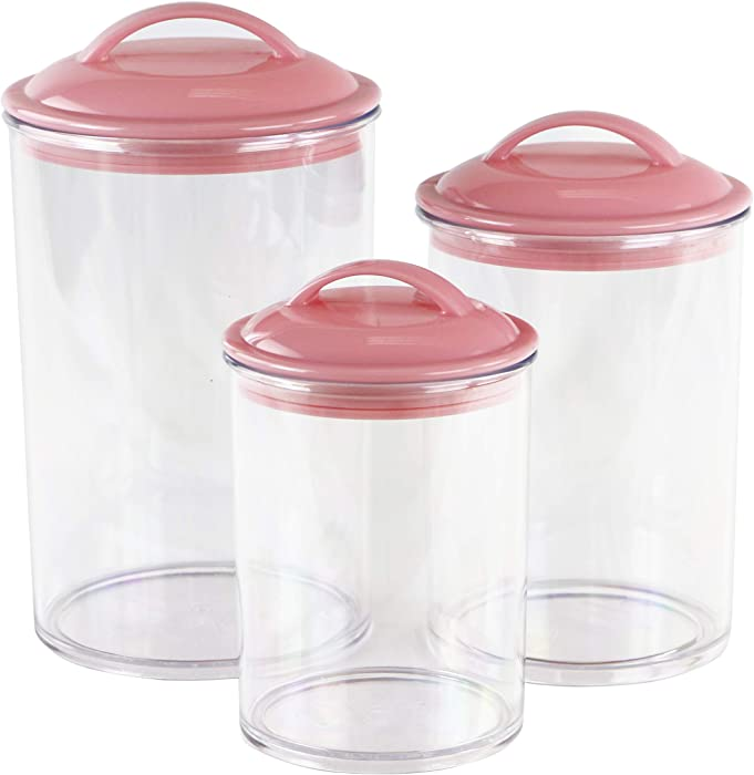 Reston Lloyd 11161 6pc Acrylic Canister Set, Set of 3, Pink