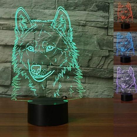 3d lobo noche luz Animal mesa escritorio lámparas de ilusión óptica 7 luces que cambian de Color LED lámpara de mesa XMAS decoración de la casa amor ...
