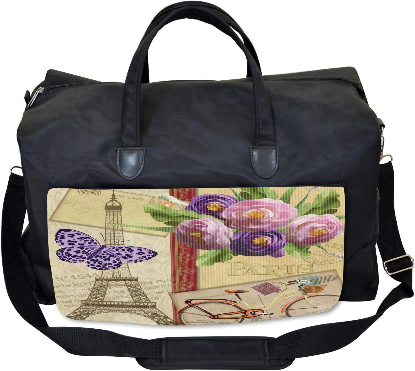Ambesonne Colorful Gym Bag French Landmarks Tower Large Weekender Carry-on