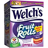 Welch's Fruit Snacks, Fruit Rolls, Variety Pack, Strawberry, Berry, Tropical, 42 Count