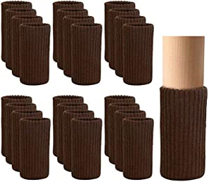 24 PCS Furniture Leg Socks Knitted Furniture Socks - Chair Leg Floor Protectors for Avoid Scratches, Furniture Pads Set for Moving Easily and Reduce Noise, Coffee