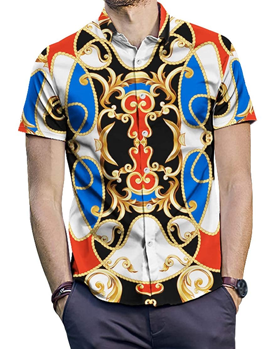 AbePa Men Short Sleeve Plus Size Trend Retro Vintage Ethnic Print Shirt