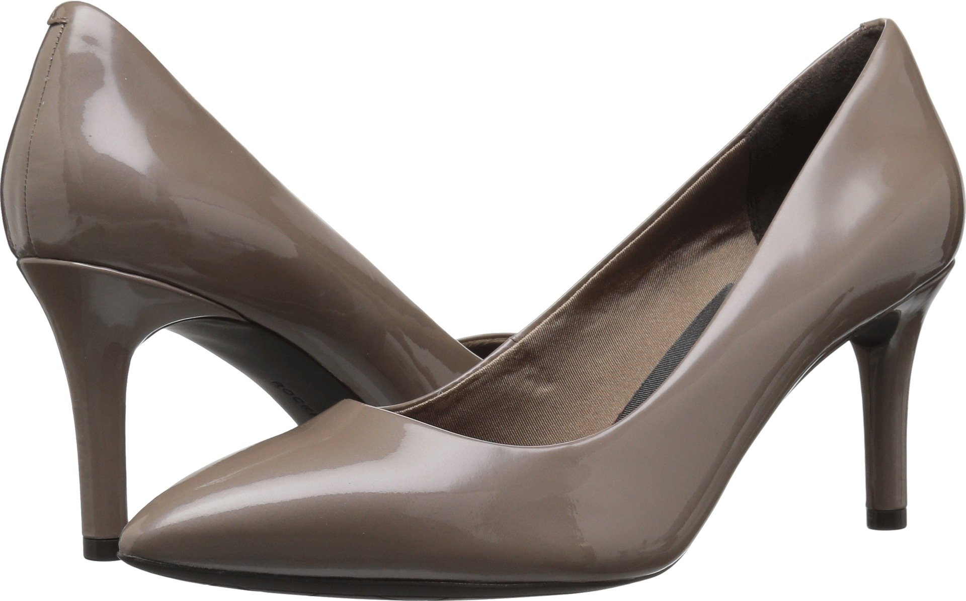 Rockport Women's Total Motion 75mm Pointy Dress Pump, Taupe Grey Patent, 8 W US