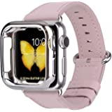 JFdragon Watch Bands with Case Compatible with Apple Watch 38mm 40mm 42mm 44mm Women Men Girls Boys Genuine Leather Strap for iWatch Series 5 4 3 2 1(Soft Pink/Silver Clasp, 42mm/44mm S/M)
