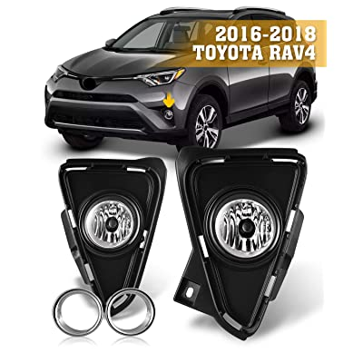 Fog Lights for 2016-2020 Toyota RAV4 with Bulbs H11 12V 55W AUTOFREE Driving Lamps Replacement Included Wiring Kit & Switch-1 Pair(Clear Lens): Automotive