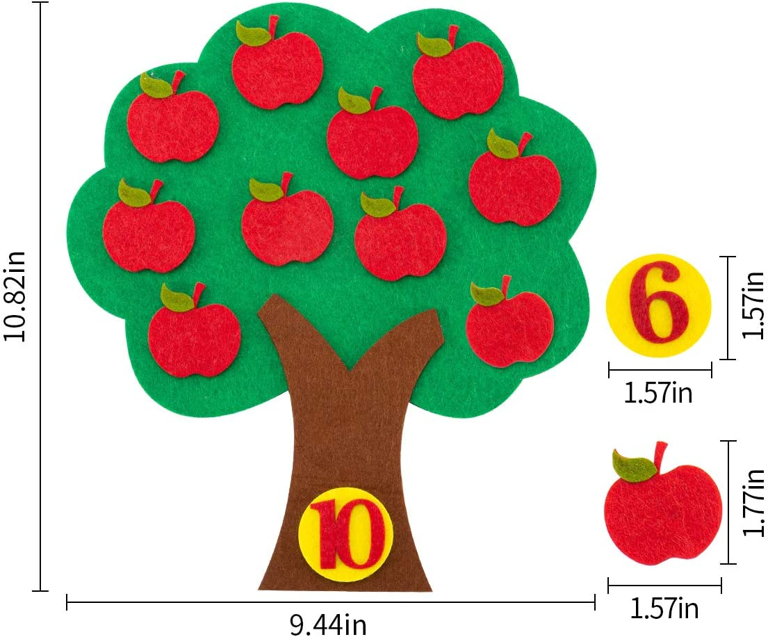 Meetory 2 Sets Felt Apple Tree Toy and 1 Set Felt Flower Math Teaching Aid Educational Apple and Number Matching Toy Montessori Math Toy for Kids Learning Numbers