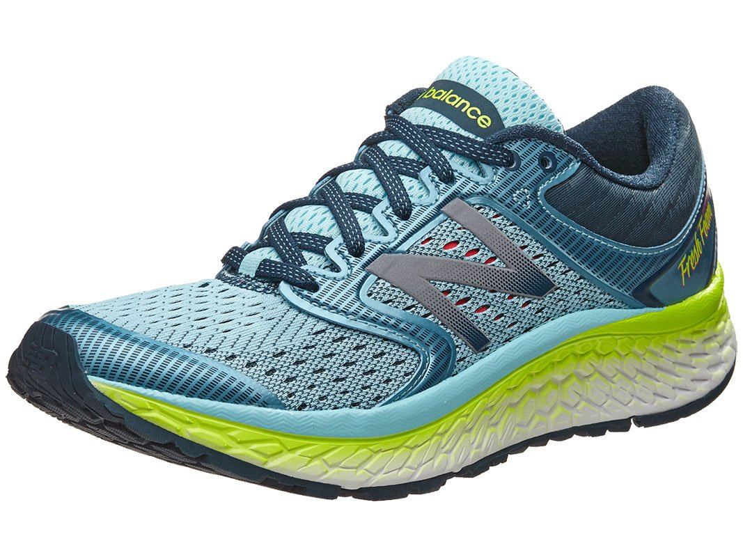 New Balance Women's W1080V7 Running Shoe, Ozone Blue Glow/Lime Glow, 7 2A US