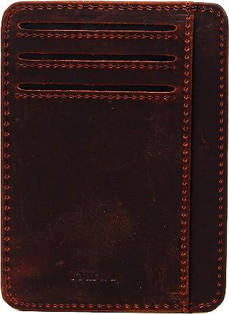 Eselprod-Porta Carta di Credito Uomo Piccolo Sottile Porta Tessere Slim Mini Portafoglio Uomo in Pelle con Protezione RFID