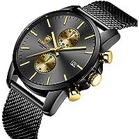 GOLDEN HOUR Men's Watches Fashion Sport Quartz Analog Black Mesh Stainless Steel Waterproof Chronograph Wrist Watch, Auto Date in Blue/Red/Gold Hands